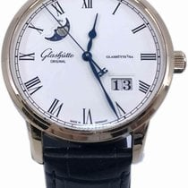 Glashütte Original Senator Panorama Date Moon Phase pre-owned 40mm Silver Moon phase Date Crocodile skin