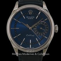 Rolex Cellini Date Or blanc 39mm Bleu Sans chiffres France, Paris