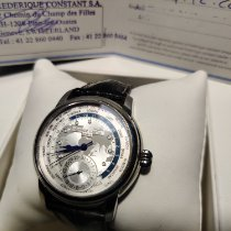 Frederique Constant Silver Automatic Silver No numerals 42mm pre-owned Manufacture Worldtimer