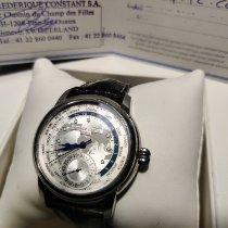 Frederique Constant Manufacture Worldtimer occasion 42mm Argent Date GMT Cuir de crocodile
