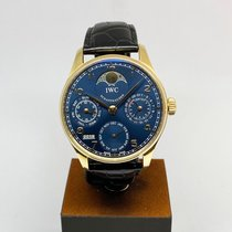 IWC Yellow gold Automatic Blue Arabic numerals 42.3mm pre-owned Portuguese Perpetual Calendar