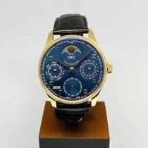 IWC Желтое золото Автоподзавод Синий Aрабские 42.3mm подержанные Portuguese Perpetual Calendar