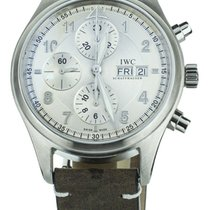 IWC Pilot Chronograph pre-owned 41mm Silver Chronograph Date Calf skin
