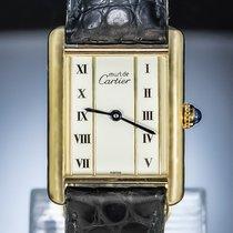 Cartier Tank Vermeil Argent 28mm Blanc Romains