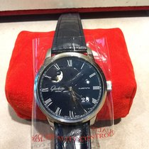 格拉苏蒂 Senator Panorama Date Moon Phase 100-04-05-12-30 全新 鋼