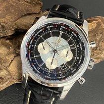 Breitling Transocean Chronograph Unitime occasion 46mm Noir Chronographe Date Cuir