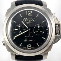 Panerai Luminor 1950 8 Days Chrono Monopulsante GMT Steel 44mm Black Arabic numerals