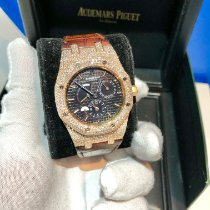 Audemars Piguet Rose gold Automatic Black No numerals 39mm pre-owned Royal Oak Dual Time