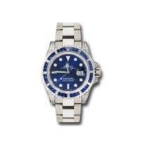 Rolex Submariner Or blanc 40mm Bleu Sans chiffres
