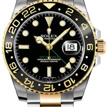 Rolex GMT-Master II Gold/Stahl 40mm Schwarz Keine Ziffern
