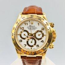Rolex Желтое золото Автоподзавод Белый Aрабские 40mm подержанные Daytona