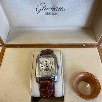 Glashütte Original Senator Karrée pre-owned 31mm Silver Moon phase Perpetual calendar Crocodile skin