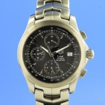 TAG Heuer Link Calibre 16 pre-owned 42mm Black Chronograph Date Steel