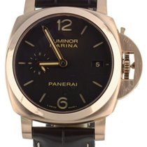 Panerai Rose gold Automatic Brown 44mm pre-owned Luminor Marina 1950 3 Days Automatic