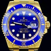Rolex Or jaune Remontage automatique Bleu Sans chiffres 40mm occasion Submariner Date