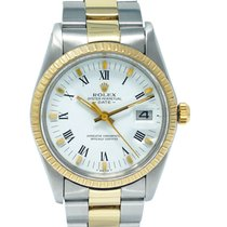 Rolex Oyster Perpetual Date Ouro/Aço 34mm Branco Romanos