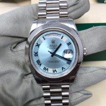 Rolex Day-Date II Platino 41mm Plata Romanos