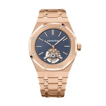Audemars Piguet Royal Oak Tourbillon Or rose 41mm Bleu Sans chiffres
