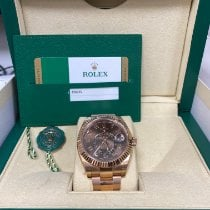 Rolex Rose gold Automatic Brown Roman numerals 42mm pre-owned Sky-Dweller
