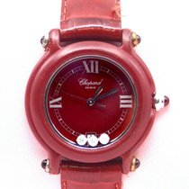 Chopard Plastic Quartz Red Roman numerals 32mm pre-owned Happy Diamonds