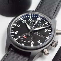 IWC Ceramic Automatic Black Arabic numerals 44mm pre-owned Pilot Chronograph Top Gun
