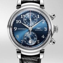 IWC Da Vinci Chronograph Stal 42mm Niebieski Arabskie