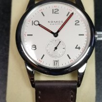 NOMOS Club Datum pre-owned Date Leather