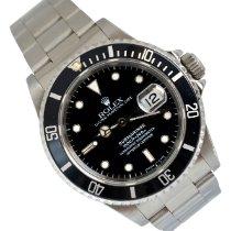 Rolex Submariner Date usato 40 MM escluso corona di caricamm Nero Data Acciaio