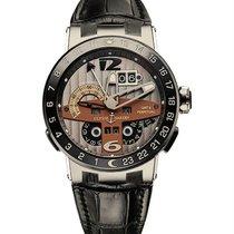 Ulysse Nardin El Toro / Black Toro pre-owned 43.3mm Grey Perpetual calendar GMT Leather