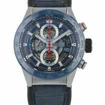 TAG Heuer Carrera Calibre HEUER 01 pre-owned 43mm Transparent Chronograph Date Tachymeter Leather