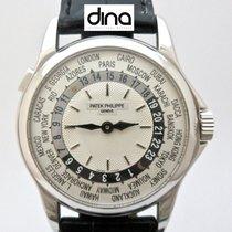 Patek Philippe World Time occasion 37mm Argent GMT Cuir de crocodile