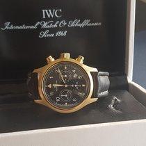 IWC Sárgaarany Kvarc Fekete Arab 36mm használt Pilot Chronograph