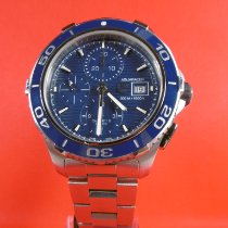 TAG Heuer Aquaracer 500M gebraucht 43mm Blau Chronograph Datum Tachymeter Stahl
