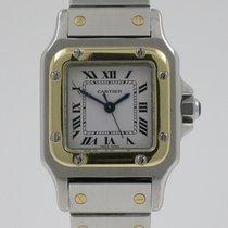 Cartier Santos Galbée Золото/Cталь 24mm Белый Римские