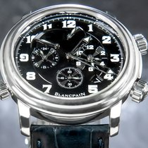 Blancpain Léman Réveil GMT pre-owned 40mm Black Chronograph Date Alarm GMT Crocodile skin