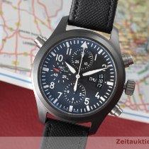 IWC Fliegeruhr Doppelchronograph gebraucht 44mm Schwarz Chronograph Doppelchronograph Flyback-Funktion Datum Wochentagsanzeige Leder