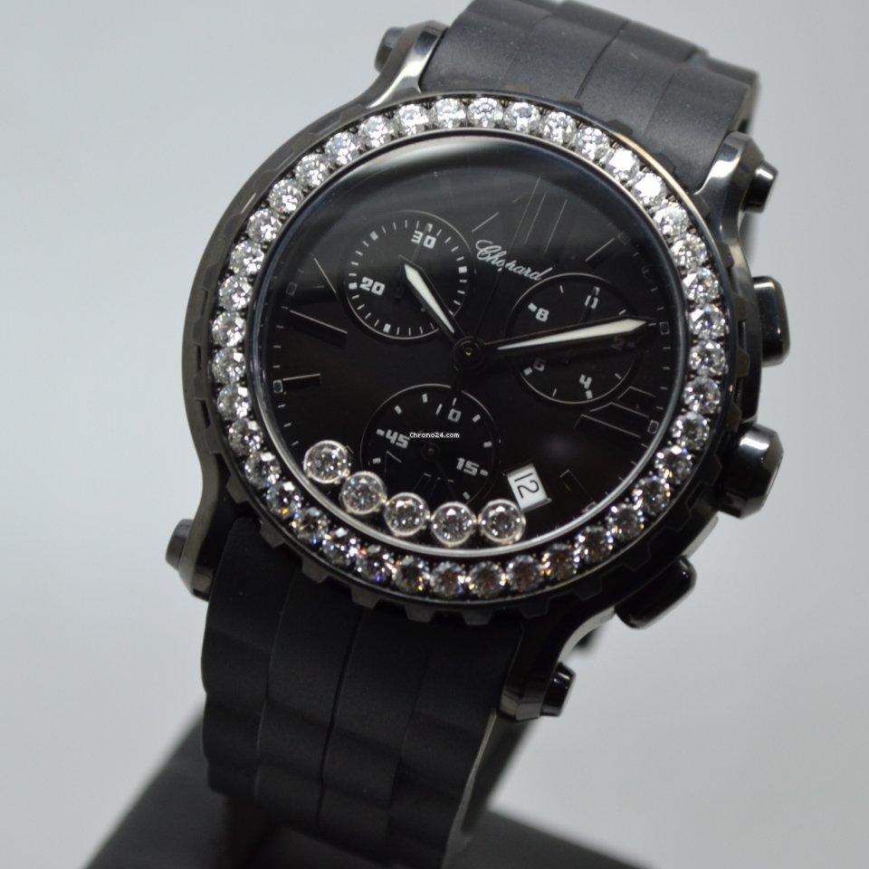 Chopard Happy Sport 42mm Chronograph Black PVD DLC Factory Diamond Bezel