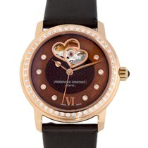 Frederique Constant Ladies Automatic Double Heart Beat pre-owned 34mm Brown Crocodile skin