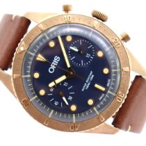 Oris Carl Brashear pre-owned 43,00mm Blue Chronograph Leather