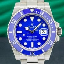 Rolex White gold Automatic Blue 40mm pre-owned Submariner Date