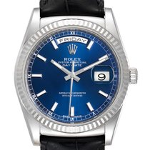 Rolex White gold Automatic Blue 36mm pre-owned Day-Date 36