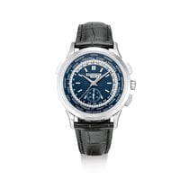 Patek Philippe World Time Chronograph Aur alb Albastru
