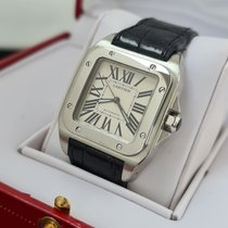 Cartier Santos 100 Сталь 33mm Белый Римские