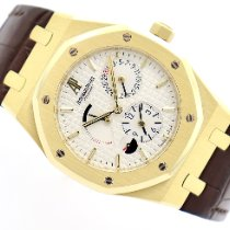 Audemars Piguet Royal Oak Dual Time Or jaune 39mm Blanc Sans chiffres