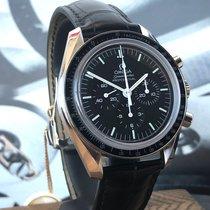 Omega Speedmaster Professional Moonwatch gebraucht 42mm Schwarz Chronograph Tachymeter Leder