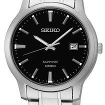 Seiko Silver Quartz Black No numerals 40,90mm new