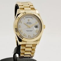 Rolex Day-Date II Oro amarillo 41mm Blanco Romanos