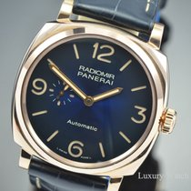 Panerai Red gold Automatic Blue Arabic numerals 45mm pre-owned Radiomir 1940 3 Days Automatic
