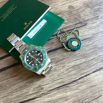 Rolex Steel Automatic Green No numerals 40mm pre-owned Submariner Date