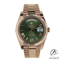 Rolex Day-Date 40 Rose gold 40mm Green Roman numerals United States of America, New York, New York
